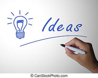 icono, medios, brillante, -, ideas, onda cerebral, ...