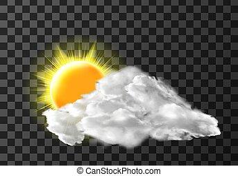 icono, meteo, luz, cubierta, sol, nube, tiempo