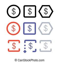 icono, moneda, dinero