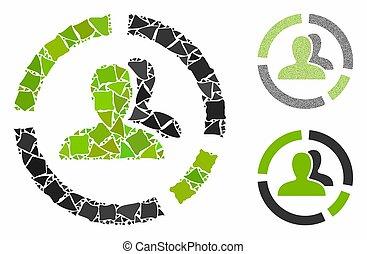 icono, mosaico, elementos, demography, desigual, diagrama