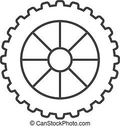 icono, -, motocicleta, neumático, contorno
