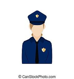 icono, mujer policía, aislado