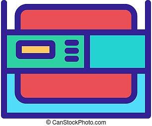 icono, multifunctional, alternator, eléctrico, portátil, contorno, vector, ilustración