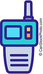 icono, multifunctional, talkie, walkie, contorno, vector, ilustración
