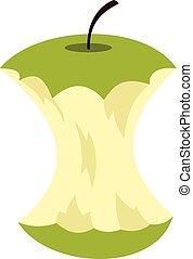 icono, núcleo, estilo, manzana, plano