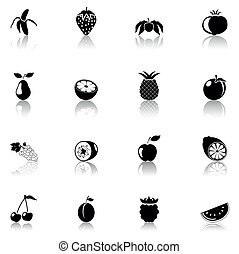 icono, negro, fruits