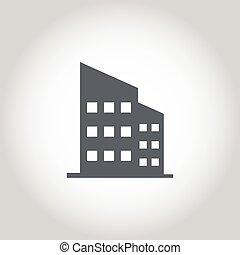 icono, oficina, vector, edificio
