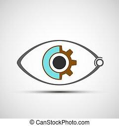 icono, ojo, mecánico