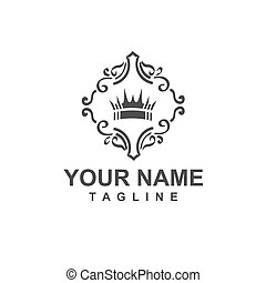 icono, ornamental, corona, logotipo, giro, vector