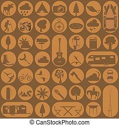 icono, outdoors., excursionismo, conjunto, campamento
