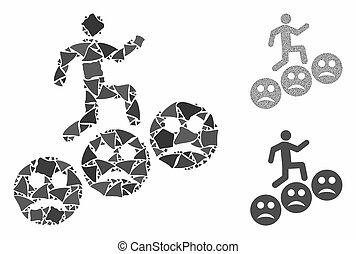 icono, pasos, mosaico, elementos, hombre, triste, sonrisas, ...