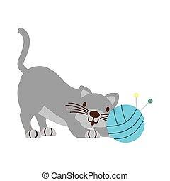 icono, pelota, aislado, hilo, gato