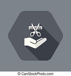 icono, peluquero, servicio, concepto