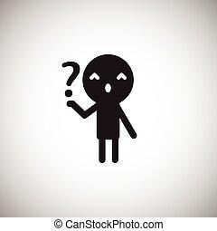 icono, persona, y, question., plano, diseño, style., vector