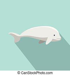 icono, plano, ballena, beluga, estilo