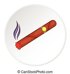 icono, plano, estilo, cigarro