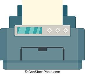 icono, plano, estilo, impresora, laser