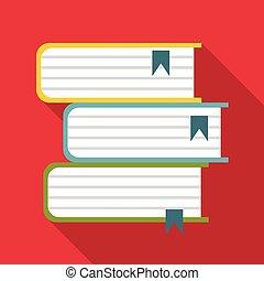 icono, plano, estilo, libros, extranjero
