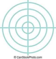 icono, plano, estilo, objetivo que dispara