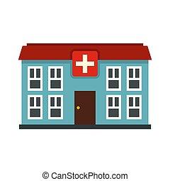 icono, plano, hospital, estilo