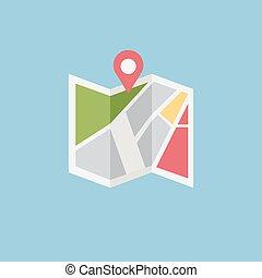 icono, plano, vector, coloreado, ubicación