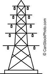 icono, poste, contorno, estilo, eléctrico