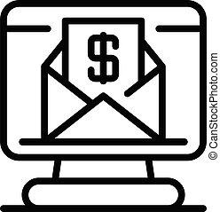 icono, préstamo, correo, contorno, carta, estilo
