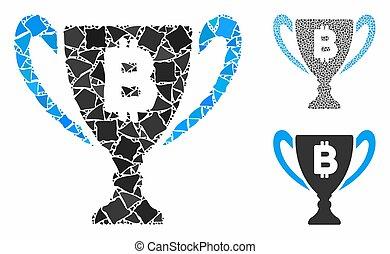 icono, premio, bitcoin, mosaico, taza, desigual, artículos