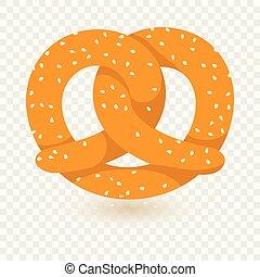 icono, pretzel, plano, estilo