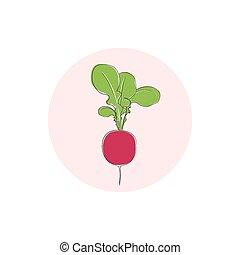 icono, rábano, vegetal, con, hojas, ilustración