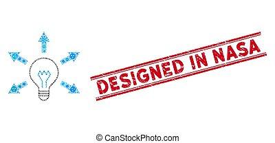 icono, rasguñado, bombilla, mosaico, diseñado, estampilla,...