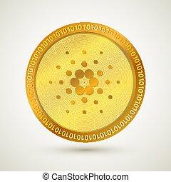 icono, realista, dinero., cryptocurrency., virtual, social, ...