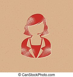 icono, recepcionista, hembra, -, halftone