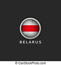 icono, redondo, bandera, belarusian, 3d, blanco, belarus, rojo