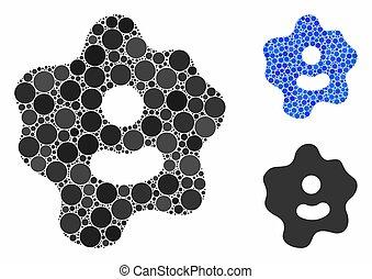 icono, redondo, composición, ameba, puntos