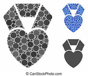 icono, redondo, premio, favorito, mosaico, puntos, corazón