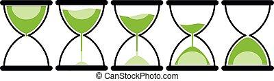 icono, reloj de arena, plano, conjunto, ilustración, ...