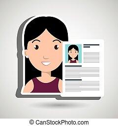icono, resumen, mujer, cv