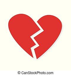 icono, rojo, corazón roto