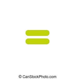 icono, símbolo., white., matemáticas, aislado, vector, igual, plano, signo., verde, equally