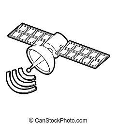 icono, satélite, espacio, estilo, contorno