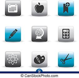icono, serie, 9, -education