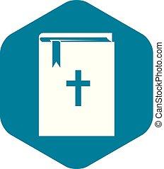 icono, simple, biblia, estilo