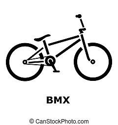icono, simple, bici del bmx, estilo
