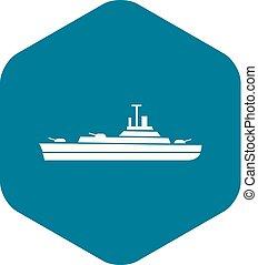 icono, simple, estilo, buque de guerra
