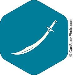 icono, simple, estilo, cimitarra, espada