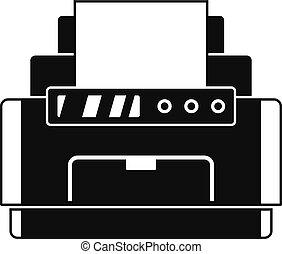 icono, simple, estilo, impresora, laser