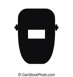 icono, simple, estilo, máscara, soldadura