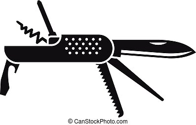 icono, simple, estilo, multifunctional, cuchillo