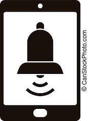 icono, simple, estilo, smartphone, ringtone